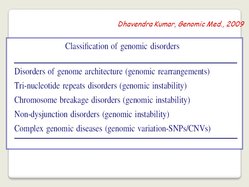 Dhavendra Kumar, Genomic Med., 2009