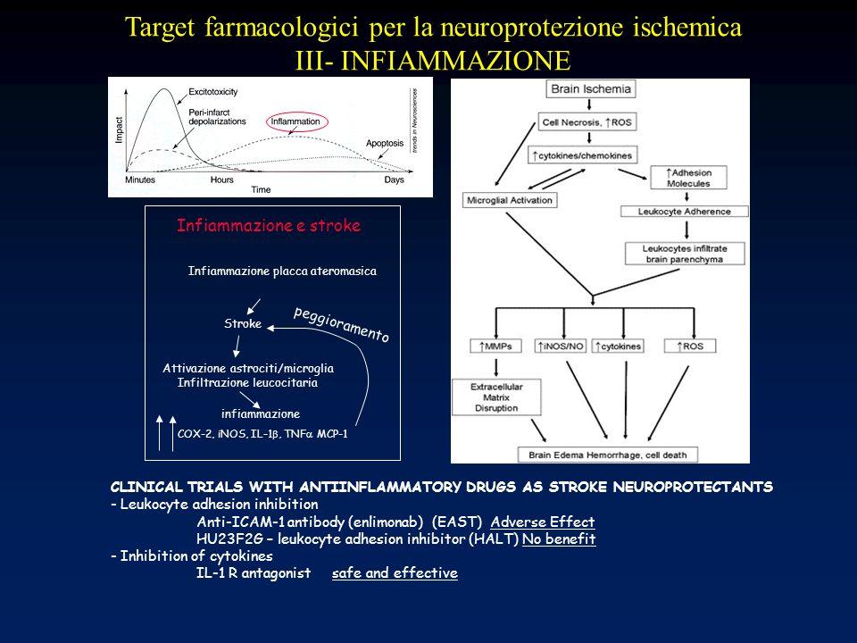 Target farmacologici per la neuroprotezione ischemica III- INFIAMMAZIONE