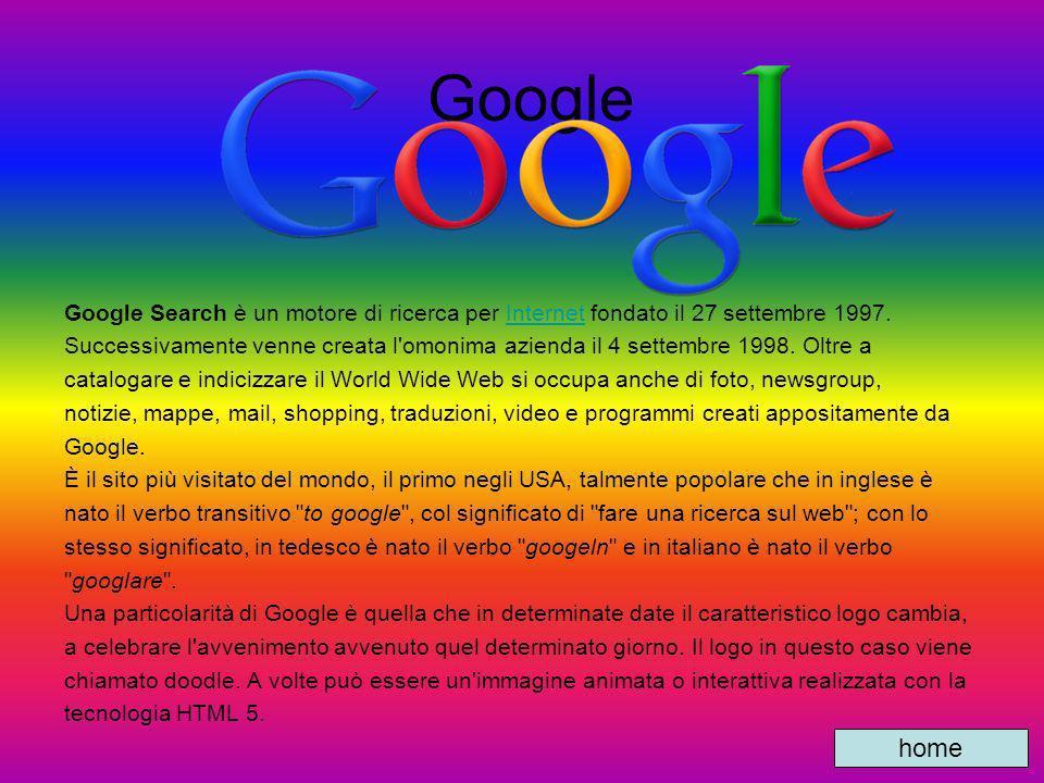 Google Google Search è un motore di ricerca per Internet fondato il 27 settembre 1997.
