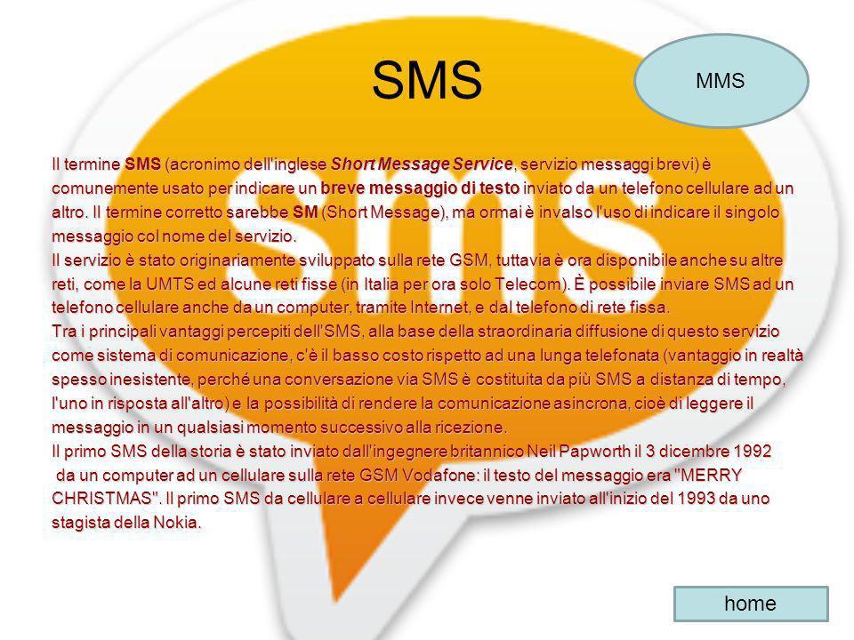 SMS MMS. Il termine SMS (acronimo dell inglese Short Message Service, servizio messaggi brevi) è.