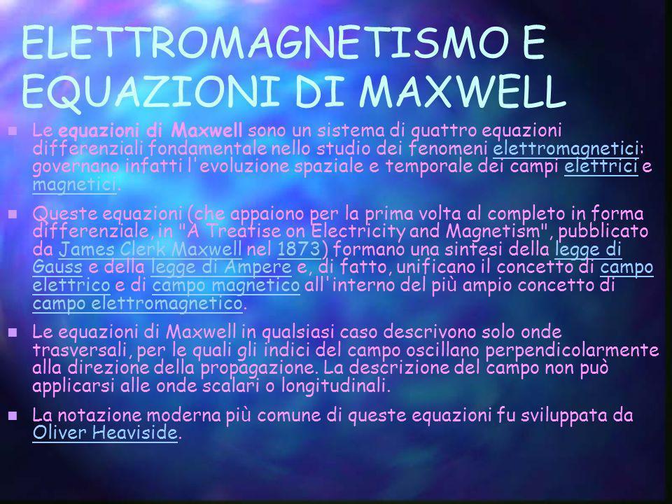 ELETTROMAGNETISMO E EQUAZIONI DI MAXWELL