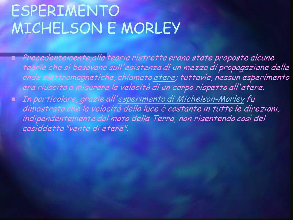 ESPERIMENTO MICHELSON E MORLEY