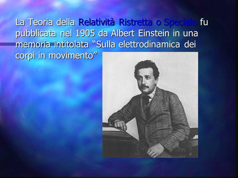 La Teoria della Relatività Ristretta o Speciale fu pubblicata nel 1905 da Albert Einstein in una memoria intitolata Sulla elettrodinamica dei corpi in movimento