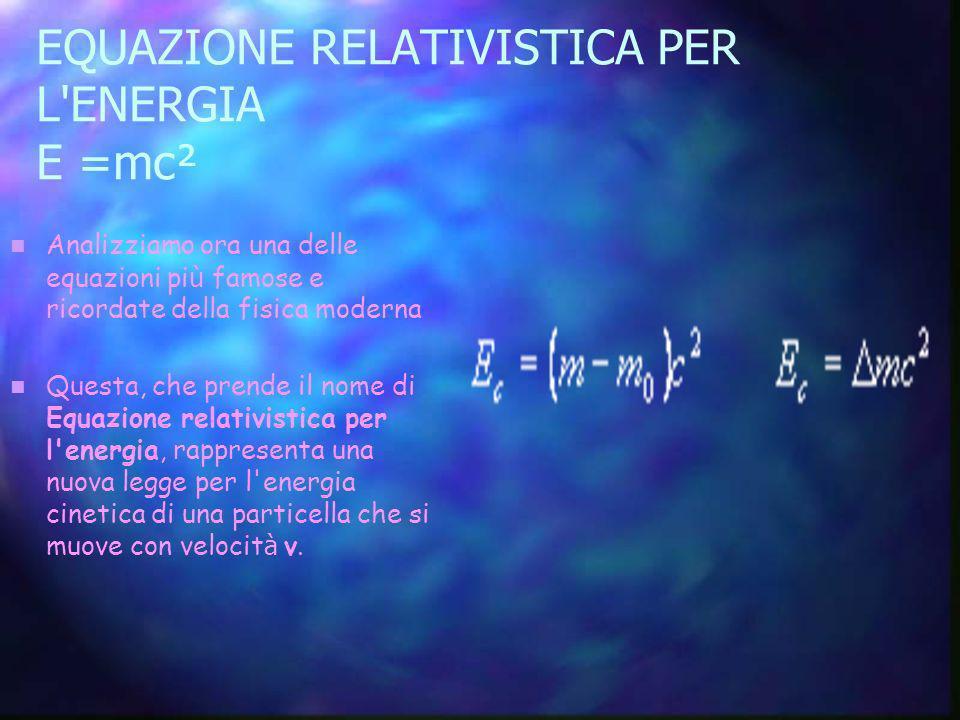 EQUAZIONE RELATIVISTICA PER L ENERGIA E =mc²