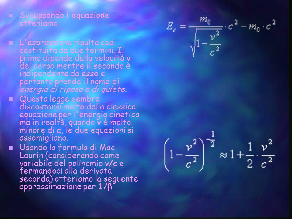 Sviluppando l equazione otteniamo
