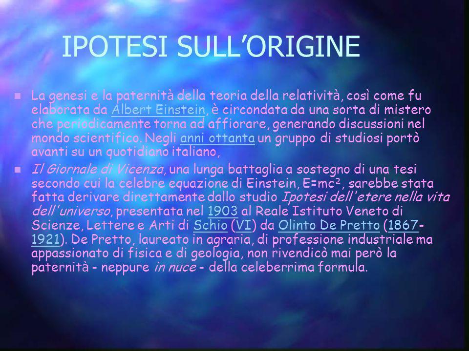 IPOTESI SULL'ORIGINE