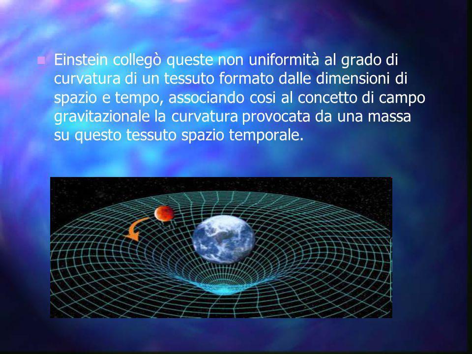 Einstein collegò queste non uniformità al grado di curvatura di un tessuto formato dalle dimensioni di spazio e tempo, associando cosi al concetto di campo gravitazionale la curvatura provocata da una massa su questo tessuto spazio temporale.