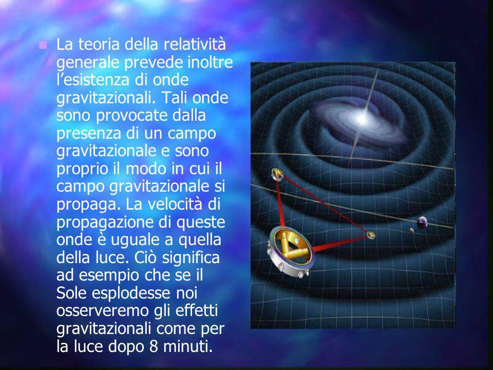 La teoria della relatività generale prevede inoltre l'esistenza di onde gravitazionali.