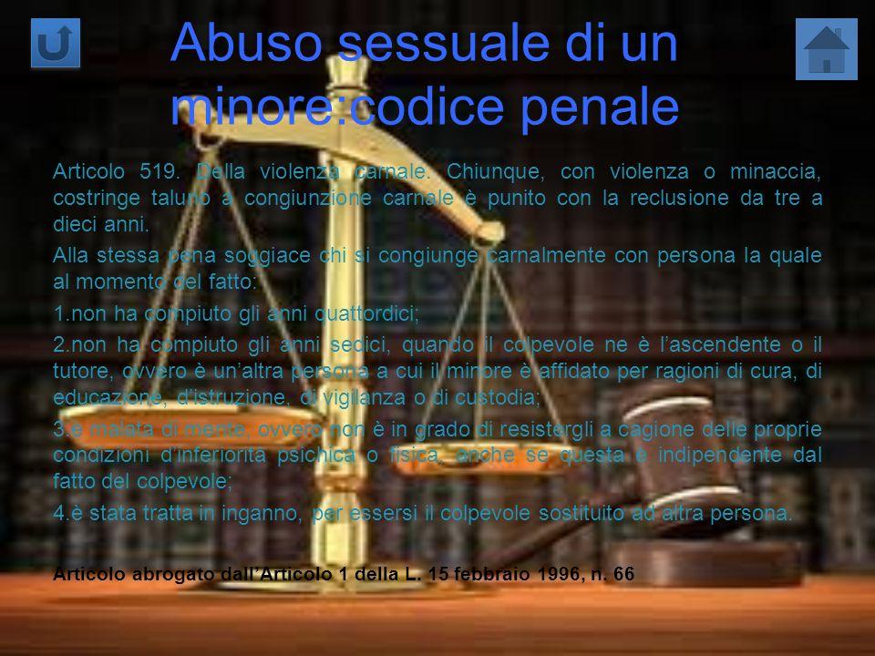 Abuso sessuale di un minore:codice penale