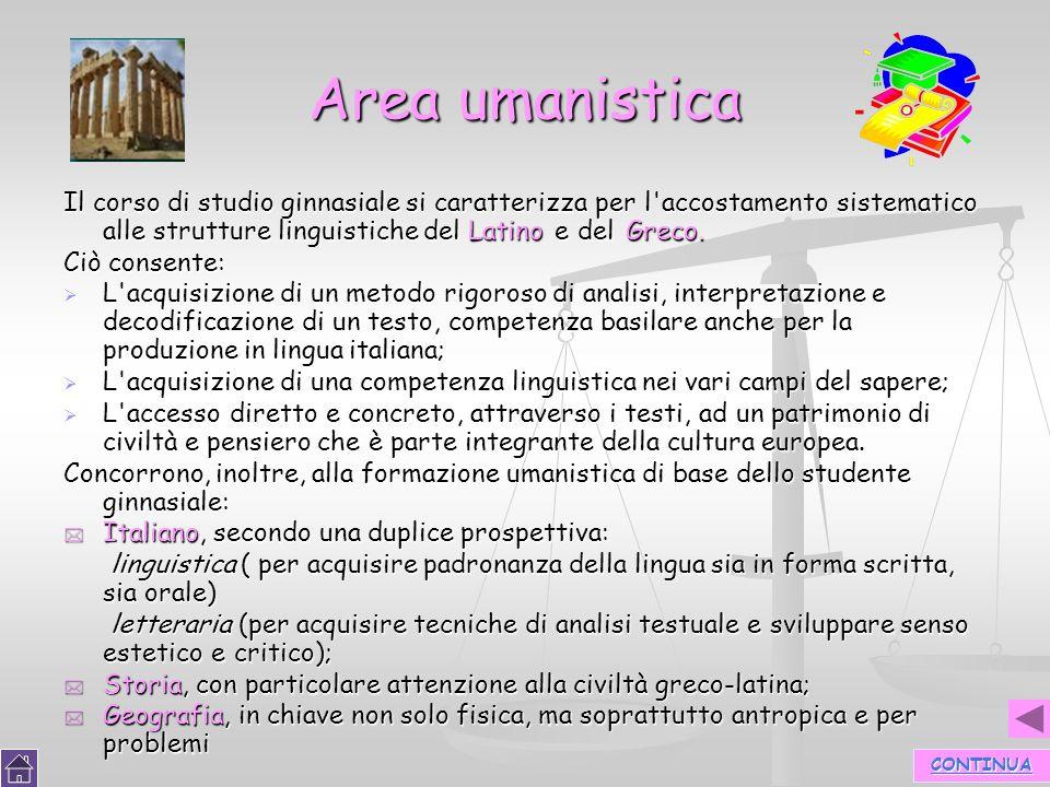 Area umanistica Il corso di studio ginnasiale si caratterizza per l accostamento sistematico alle strutture linguistiche del Latino e del Greco.