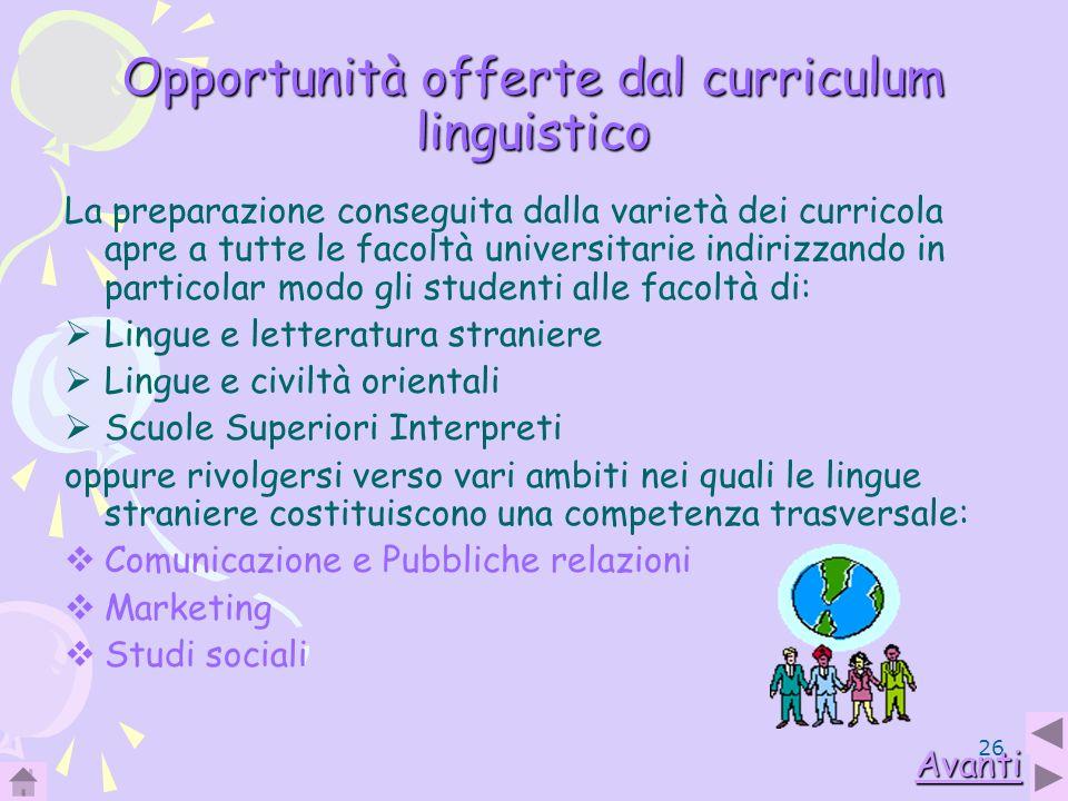 Opportunità offerte dal curriculum linguistico