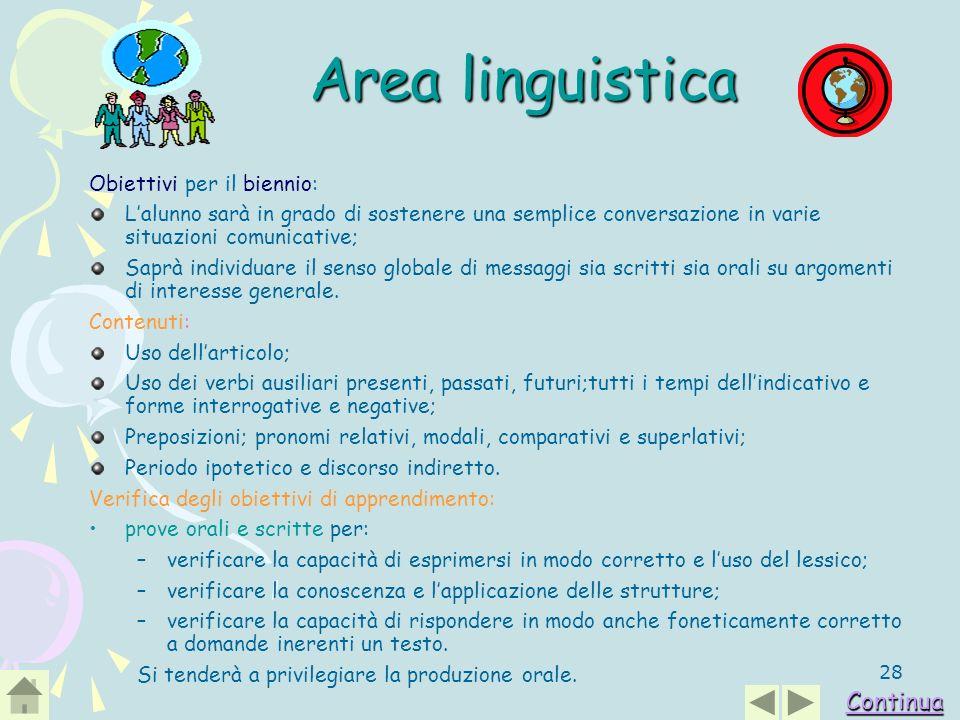 Area linguistica Continua Obiettivi per il biennio: