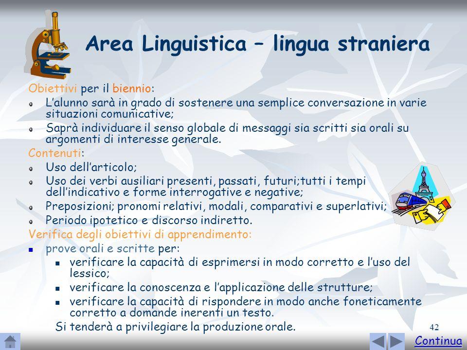 Area Linguistica – lingua straniera