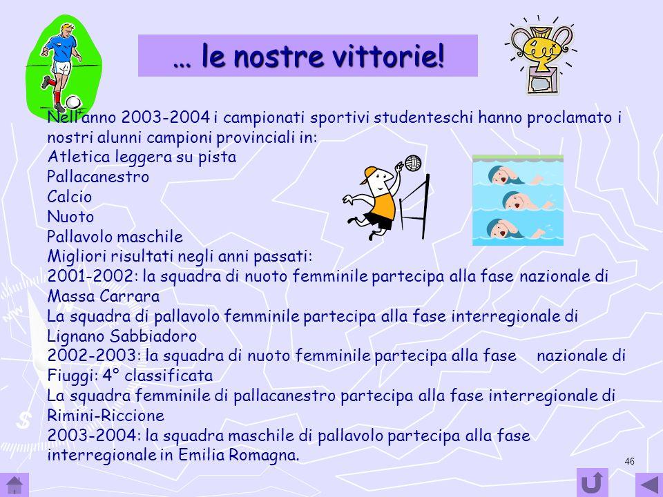 … le nostre vittorie! Nell'anno 2003-2004 i campionati sportivi studenteschi hanno proclamato i nostri alunni campioni provinciali in: