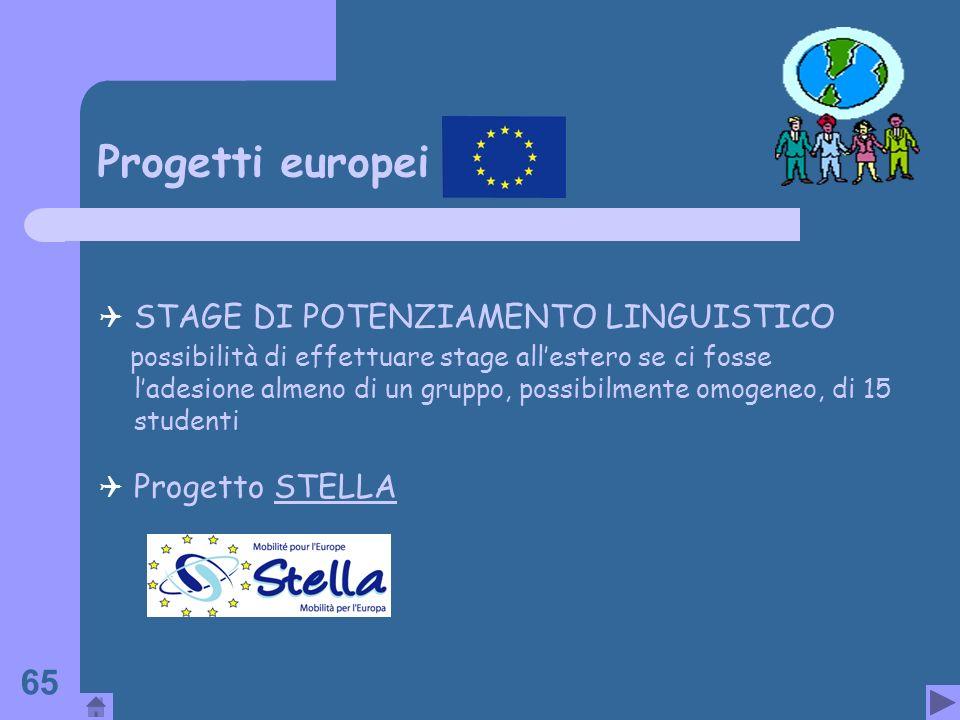 Progetti europei STAGE DI POTENZIAMENTO LINGUISTICO Progetto STELLA