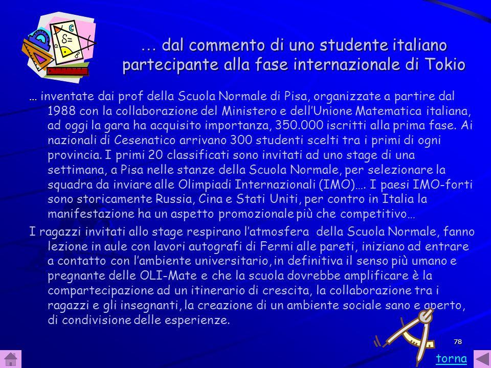 … dal commento di uno studente italiano partecipante alla fase internazionale di Tokio