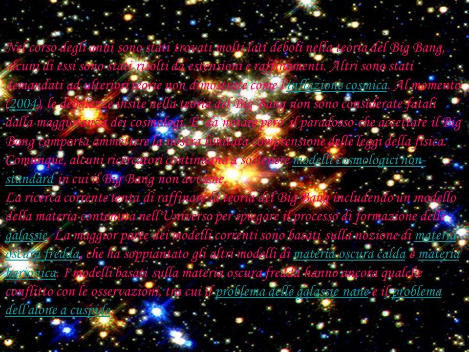 Nel corso degli anni sono stati trovati molti lati deboli nella teoria del Big Bang, alcuni di essi sono stati risolti da estensioni e raffinamenti. Altri sono stati demandati ad ulteriori teorie non dimostrate come l inflazione cosmica. Al momento (2004), le debolezze insite nella teoria del Big Bang non sono considerate fatali dalla maggioranza dei cosmologi. E da notare pero il paradosso che accettare il Big Bang comporta ammettere la nostra limitata comprensione delle leggi della fisica. Comunque, alcuni ricercatori continuano a sostenere modelli cosmologici non-standard in cui il Big Bang non avviene.