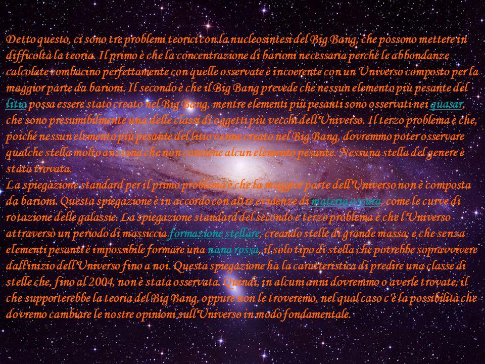 Detto questo, ci sono tre problemi teorici con la nucleosintesi del Big Bang, che possono mettere in difficoltà la teoria. Il primo è che la concentrazione di barioni necessaria perché le abbondanze calcolate combacino perfettamente con quelle osservate è incoerente con un Universo composto per la maggior parte da barioni. Il secondo è che il Big Bang prevede che nessun elemento più pesante del litio possa essere stato creato nel Big Bang, mentre elementi più pesanti sono osservati nei quasar, che sono presumibilmente una delle classi di oggetti più vecchi dell Universo. Il terzo problema è che, poiché nessun elemento più pesante del litio venne creato nel Big Bang, dovremmo poter osservare qualche stella molto anziana che non contiene alcun elemento pesante. Nessuna stella del genere è stata trovata.
