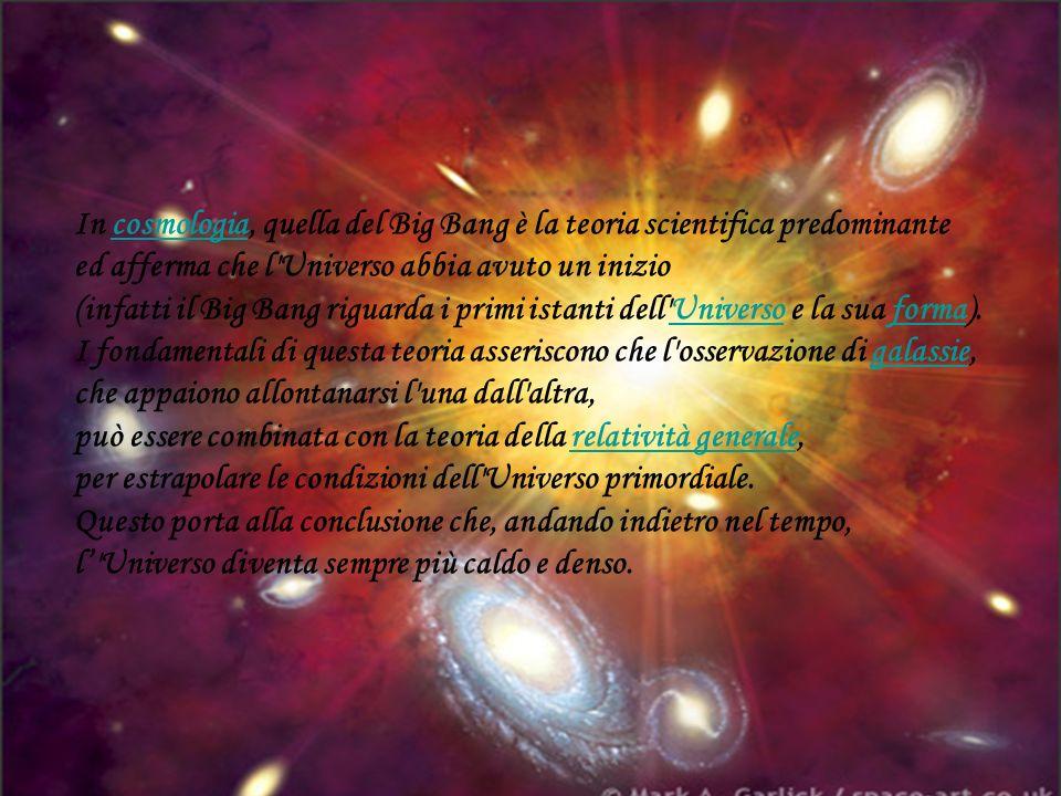 In cosmologia, quella del Big Bang è la teoria scientifica predominante ed afferma che l Universo abbia avuto un inizio (infatti il Big Bang riguarda i primi istanti dell Universo e la sua forma).