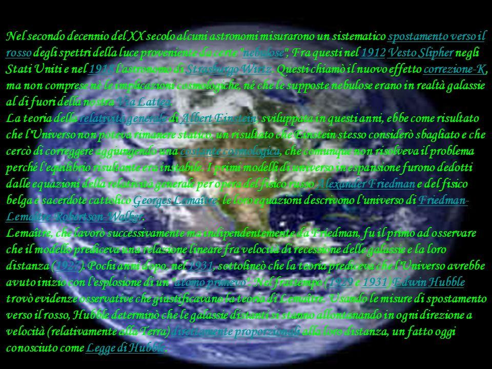 Nel secondo decennio del XX secolo alcuni astronomi misurarono un sistematico spostamento verso il rosso degli spettri della luce proveniente da certe nebulose , Fra questi nel 1912 Vesto Slipher negli Stati Uniti e nel 1918 l astronomo di Strasburgo Wirtz. Questi chiamò il nuovo effetto correzione-K, ma non comprese nè le implicazioni cosmologiche, né che le supposte nebulose erano in realtà galassie al di fuori della nostra Via Lattea.