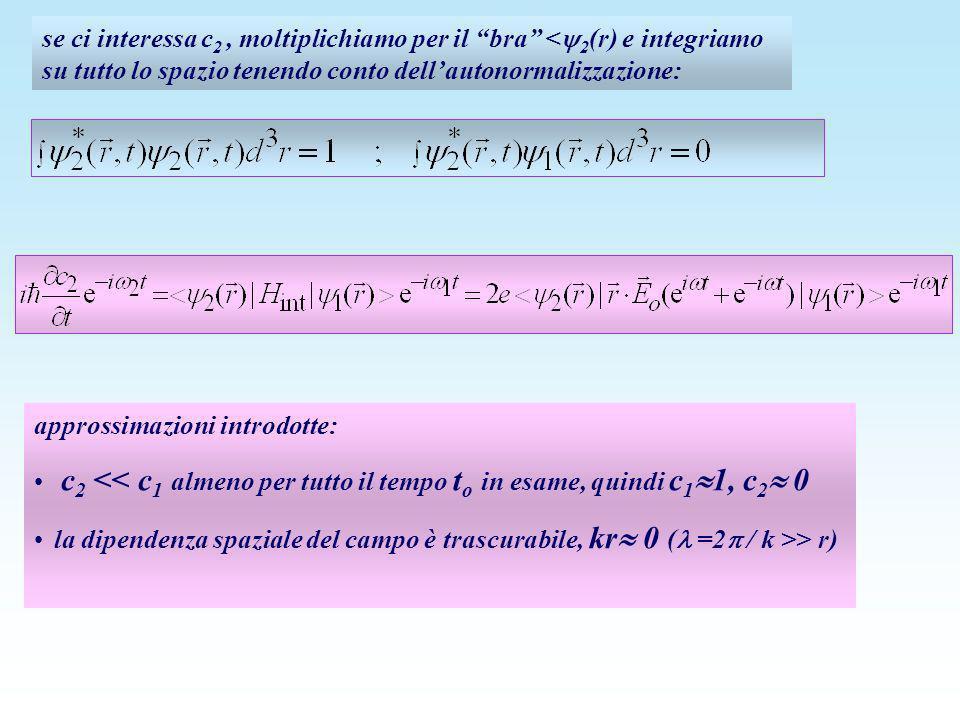 se ci interessa c2 , moltiplichiamo per il bra <2(r) e integriamo su tutto lo spazio tenendo conto dell'autonormalizzazione: