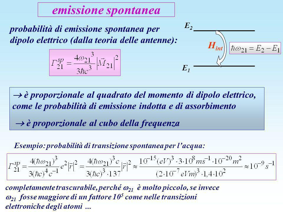 emissione spontanea E1. E2. Hint. probabilità di emissione spontanea per dipolo elettrico (dalla teoria delle antenne):