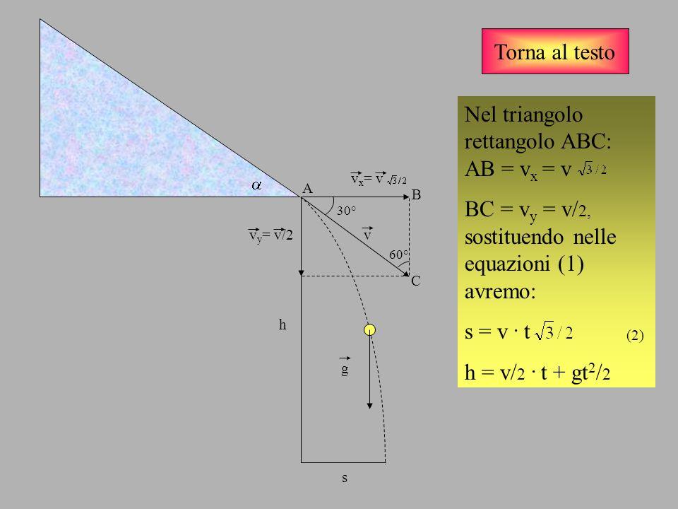 Nel triangolo rettangolo ABC: AB = vx = v
