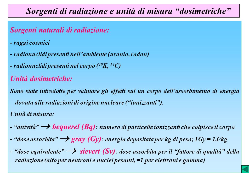 Sorgenti di radiazione e unità di misura dosimetriche