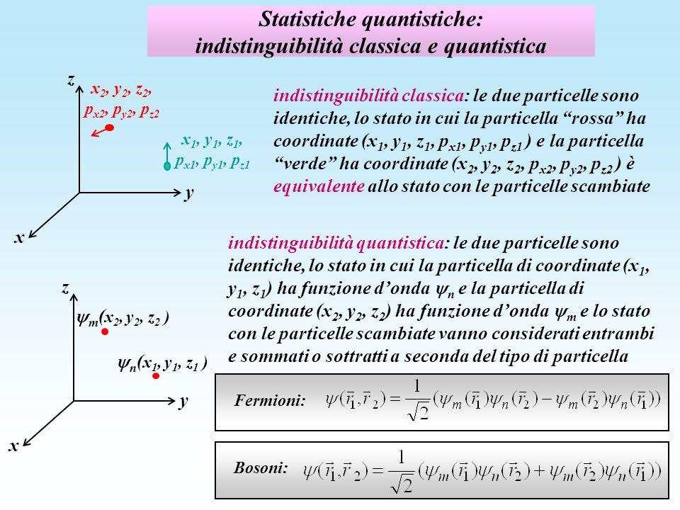 Statistiche quantistiche: indistinguibilità classica e quantistica