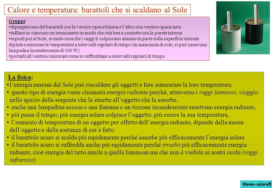 Calore e temperatura: barattoli che si scaldano al Sole