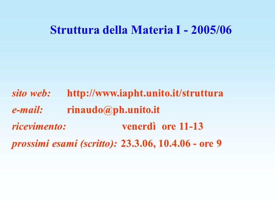 Struttura della Materia I - 2005/06