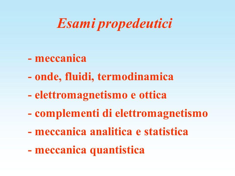 Esami propedeutici - meccanica - onde, fluidi, termodinamica