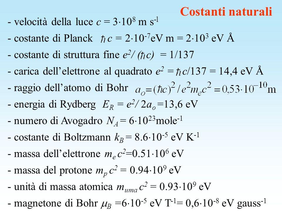 Costanti naturali - velocità della luce c = 3108 m s-l