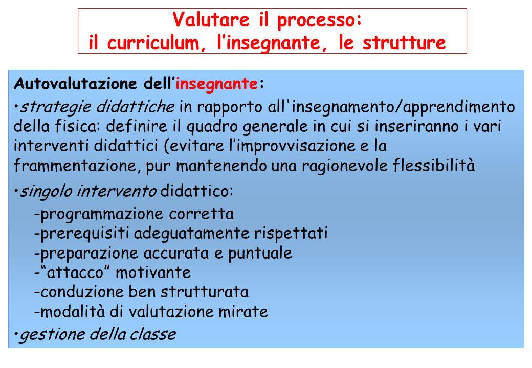 il curriculum, l'insegnante, le strutture