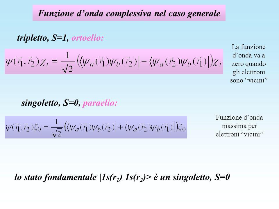 Funzione d'onda complessiva nel caso generale