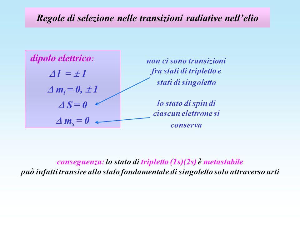 Regole di selezione nelle transizioni radiative nell'elio