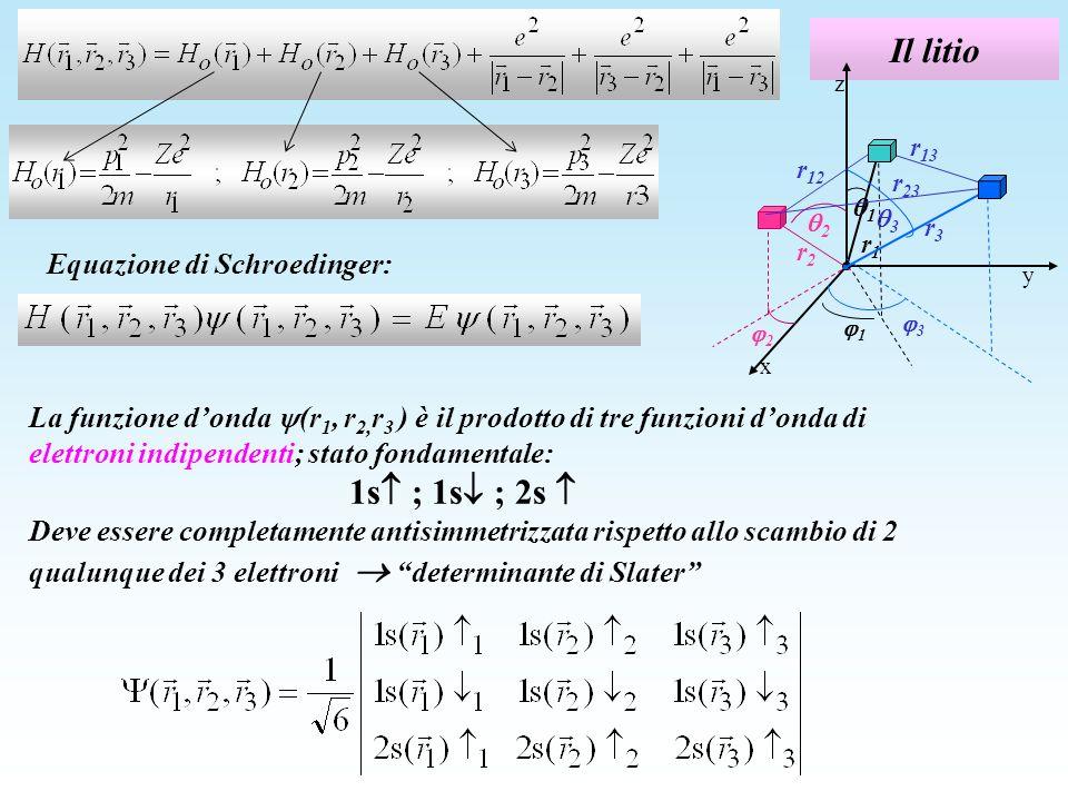 Il litio Equazione di Schroedinger: