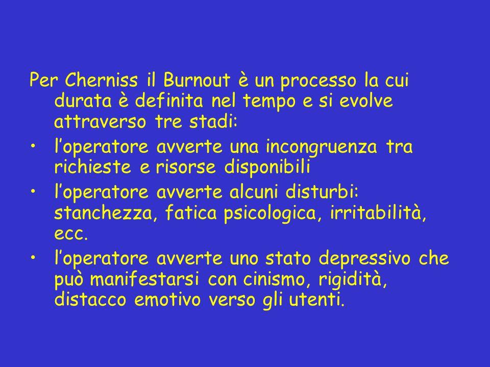 Per Cherniss il Burnout è un processo la cui durata è definita nel tempo e si evolve attraverso tre stadi: