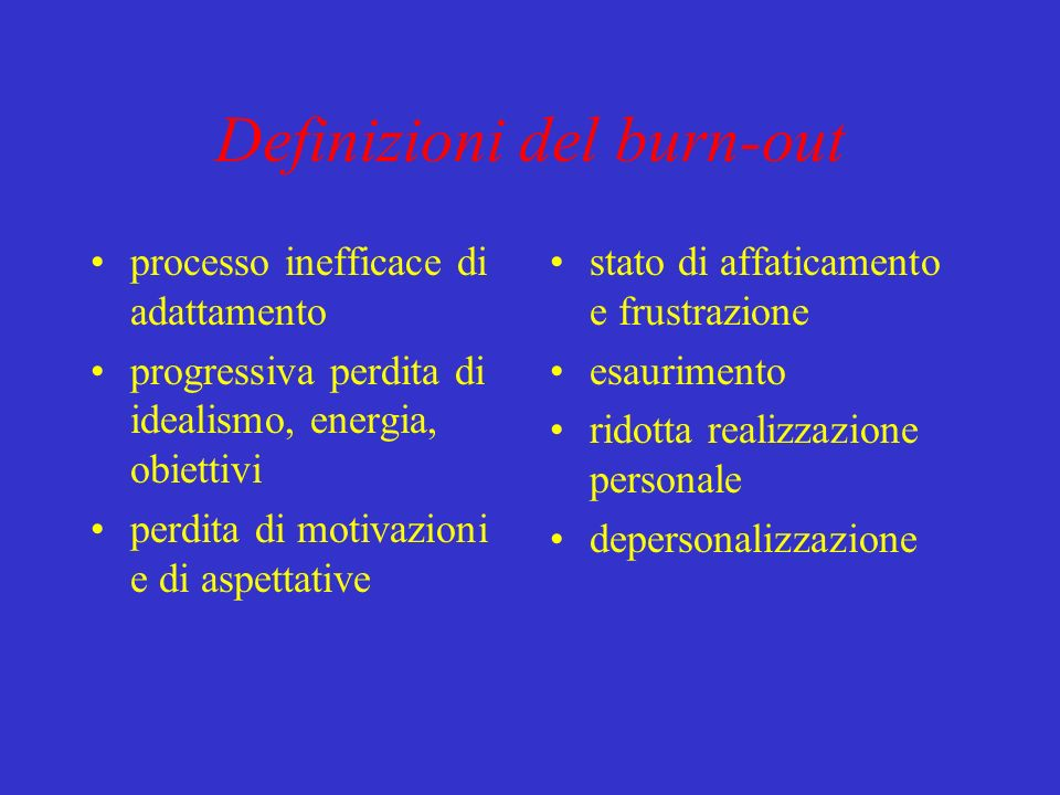 Definizioni del burn-out