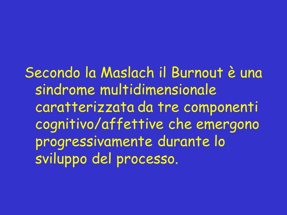Secondo la Maslach il Burnout è una sindrome multidimensionale caratterizzata da tre componenti cognitivo/affettive che emergono progressivamente durante lo sviluppo del processo.