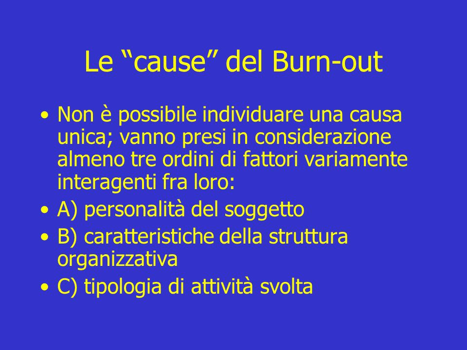 Le cause del Burn-out