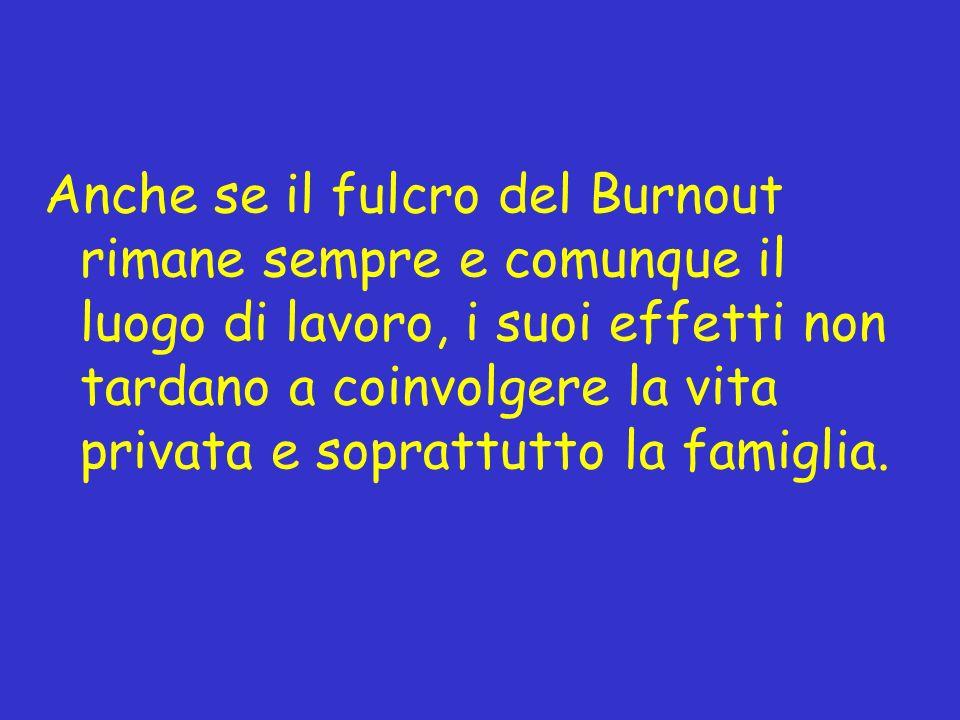 Anche se il fulcro del Burnout rimane sempre e comunque il luogo di lavoro, i suoi effetti non tardano a coinvolgere la vita privata e soprattutto la famiglia.