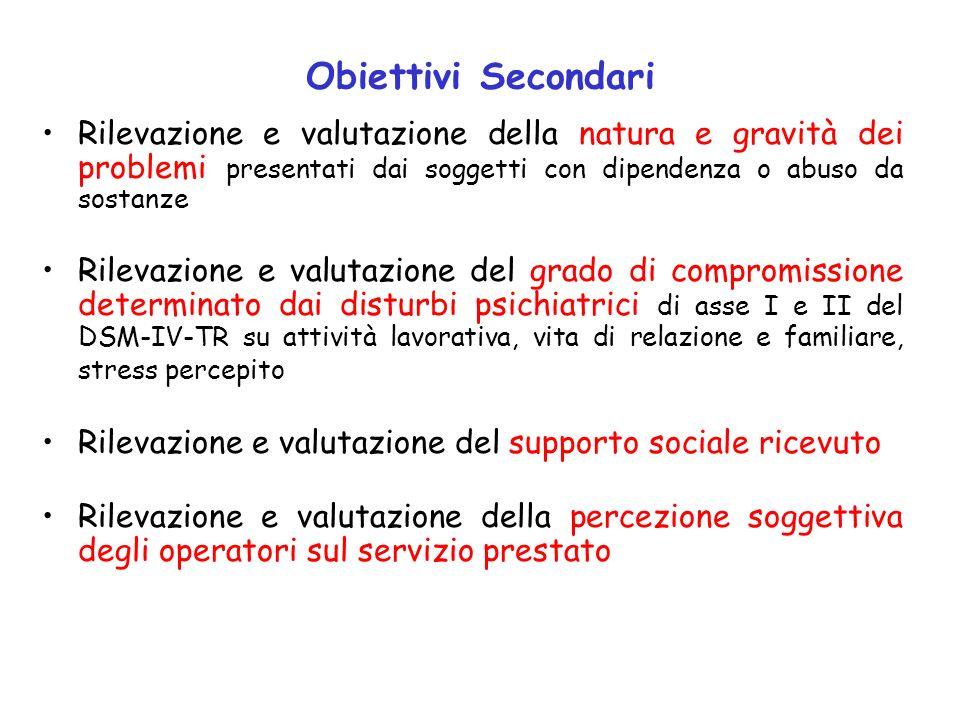 Obiettivi Secondari Rilevazione e valutazione della natura e gravità dei problemi presentati dai soggetti con dipendenza o abuso da sostanze.