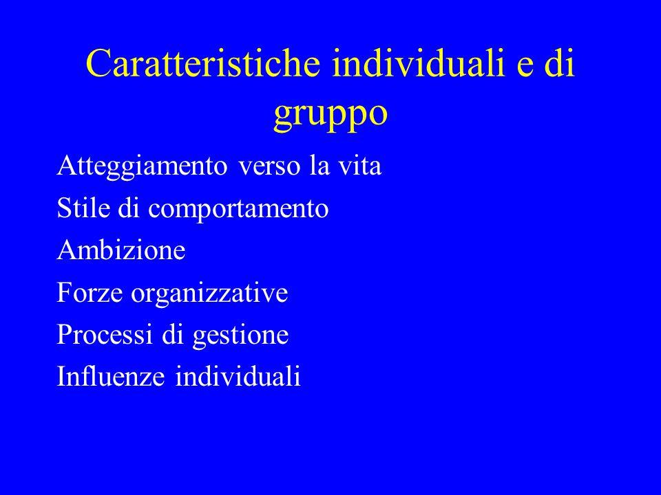 Caratteristiche individuali e di gruppo
