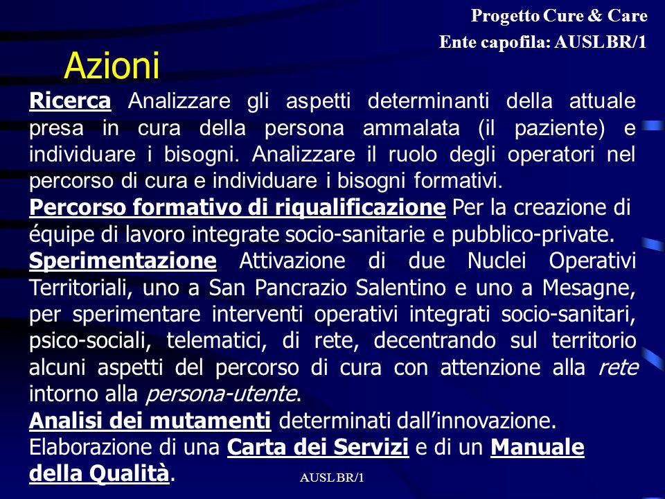 Progetto Cure & Care Ente capofila: AUSL BR/1. Azioni.