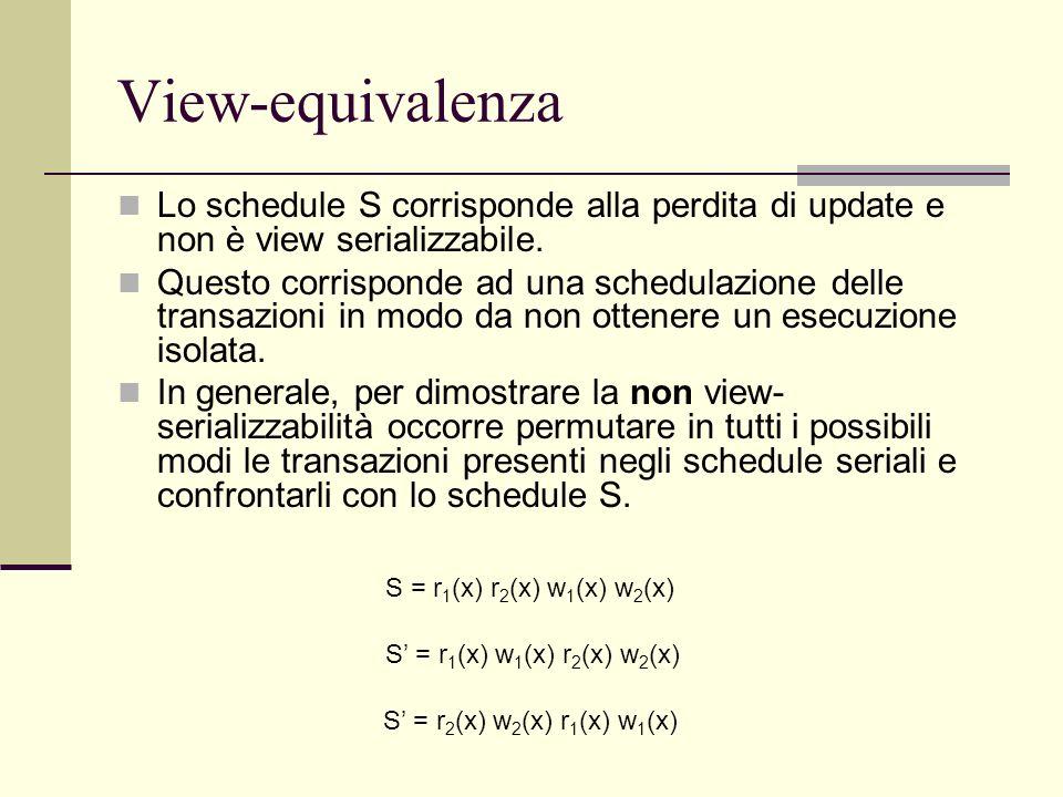 View-equivalenzaLo schedule S corrisponde alla perdita di update e non è view serializzabile.