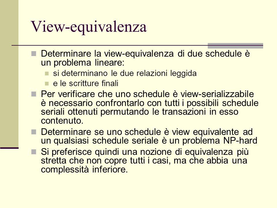 View-equivalenzaDeterminare la view-equivalenza di due schedule è un problema lineare: si determinano le due relazioni leggida.