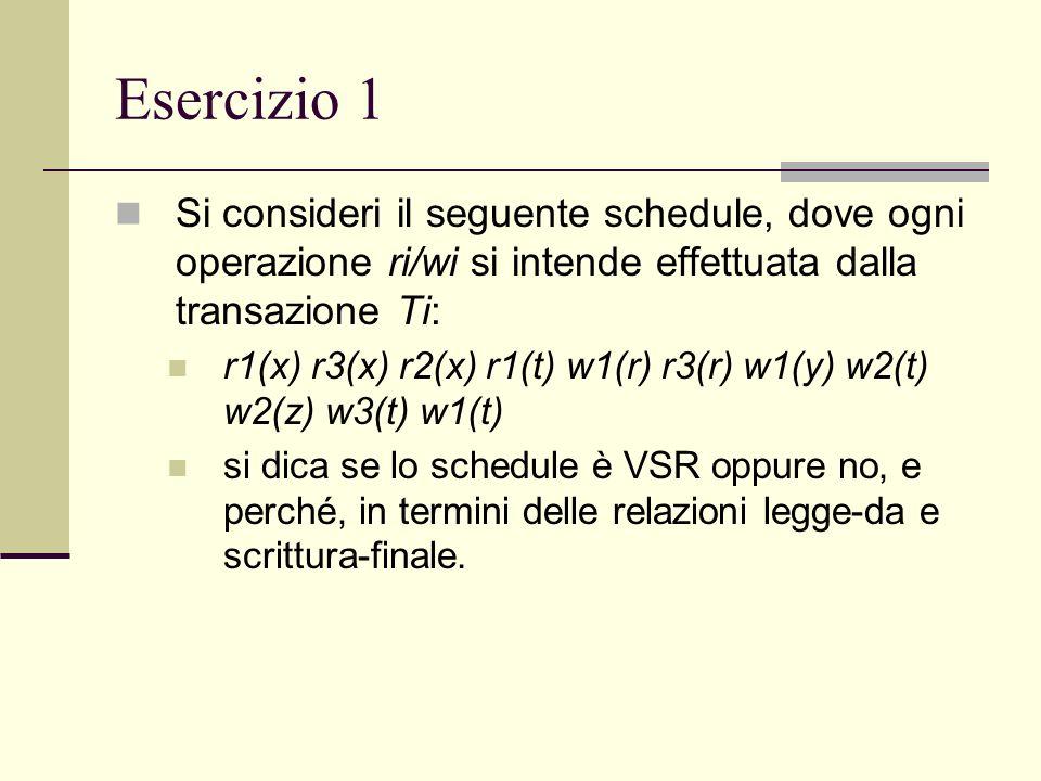 Esercizio 1Si consideri il seguente schedule, dove ogni operazione ri/wi si intende effettuata dalla transazione Ti: