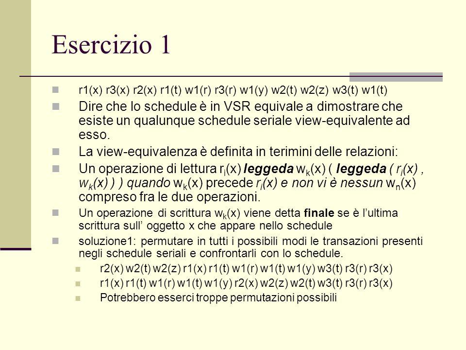 Esercizio 1r1(x) r3(x) r2(x) r1(t) w1(r) r3(r) w1(y) w2(t) w2(z) w3(t) w1(t)