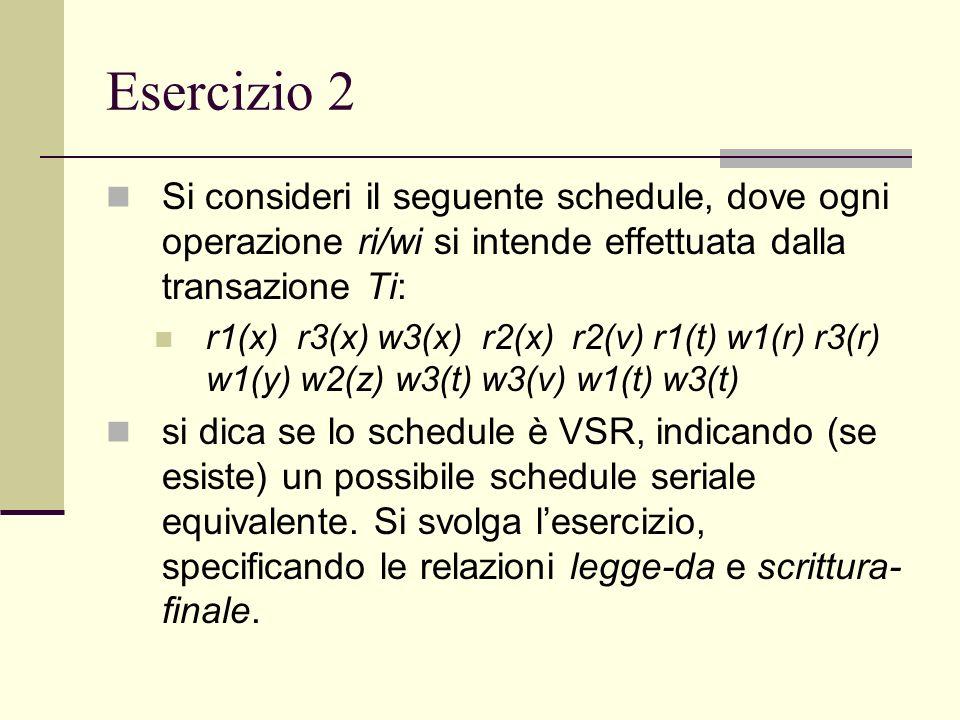 Esercizio 2Si consideri il seguente schedule, dove ogni operazione ri/wi si intende effettuata dalla transazione Ti: